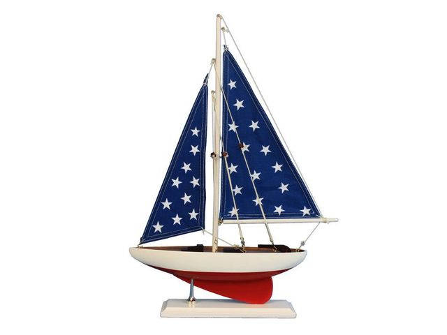 Wooden Patriotic Sailer Model Sailboat Decoration 17