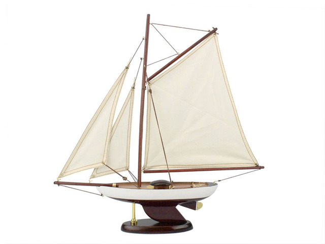 Wooden Bermuda Sloop Model Sailboat Decoration 17