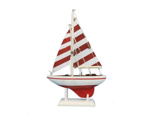 Wooden Red Striped Pacific Sailer Model Sailboat Decoration 9