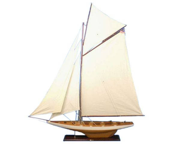 Wooden Columbia Model Sailboat Decoration 80