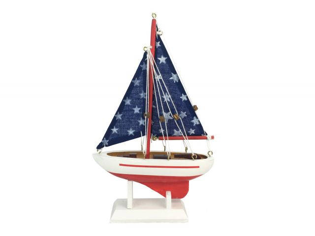 Wooden Starry Night Model Sailboat 9