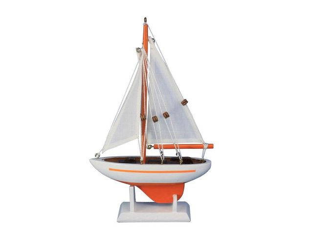 Wooden Orange Pacific Sailer Model Sailboat Decoration 9