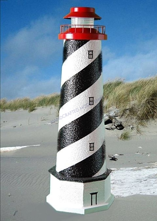 St. Augustine Stucco Solar Landscape Lighthouse w-Base 28
