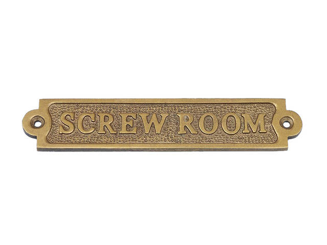 Antique Brass Screw Room Sign 6