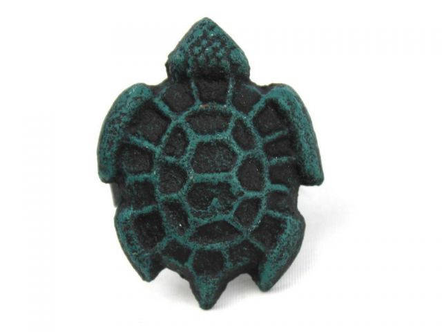 Seaworn Blue Cast Iron Turtle Decorative Napkin Ring 2 - set of 2