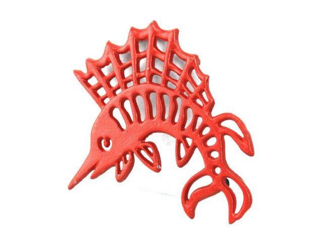 Rustic Red Cast Iron Marlin Trivet 8