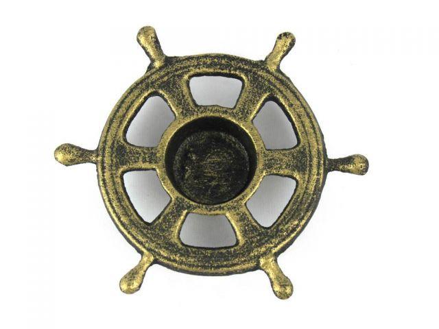 Antique Gold Cast Iron Ship Wheel Decorative Tealight Holder 5.5