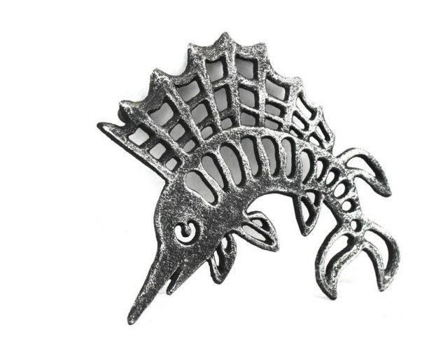 Antique Silver Cast Iron Marlin Trivet 8