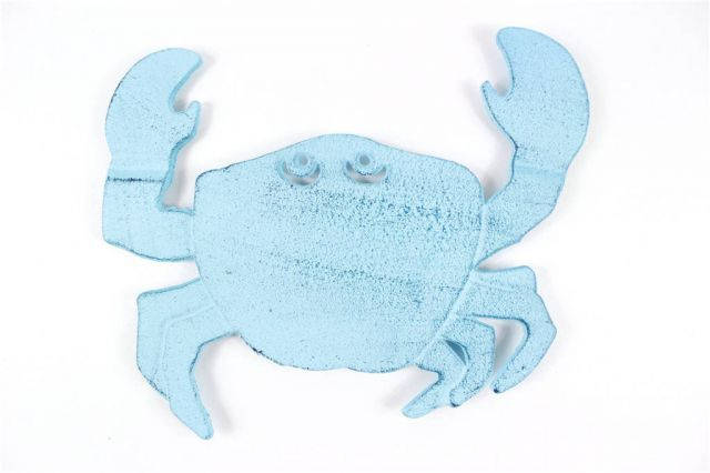 Rustic Dark Blue Whitewashed Cast Iron Crab Trivet 11