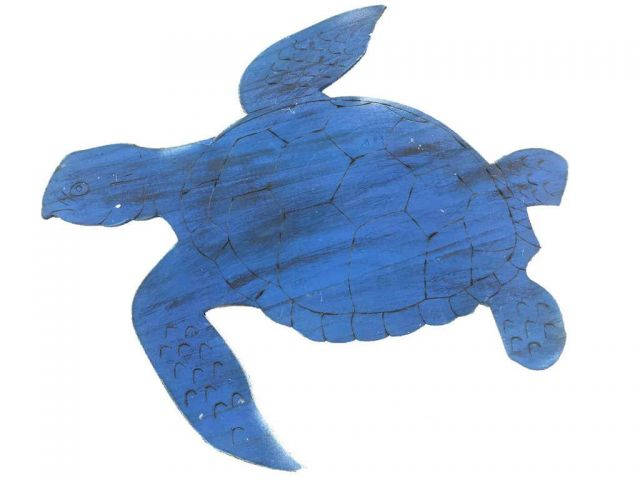 Wooden Rustic Dark Blue Sea Turtle Wall Mounted Decoration 25