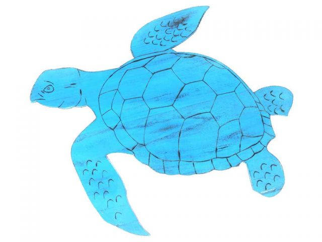 Wooden Rustic Light Blue Sea Turtle Wall Mounted Decoration 25