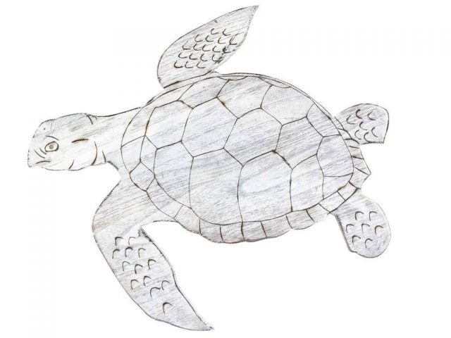 Wooden Whitewashed Sea Turtle Wall Mounted Decoration 25