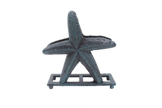Seaworn Blue Cast Iron Starfish Napkin Holder 6