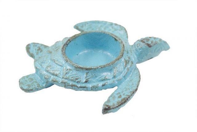 Rustic Light Blue Cast Iron Turtle Decorative Tealight Holder 5
