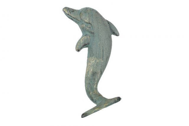 Antique Seaworn Bronze Cast Iron Dolphin Hook 7