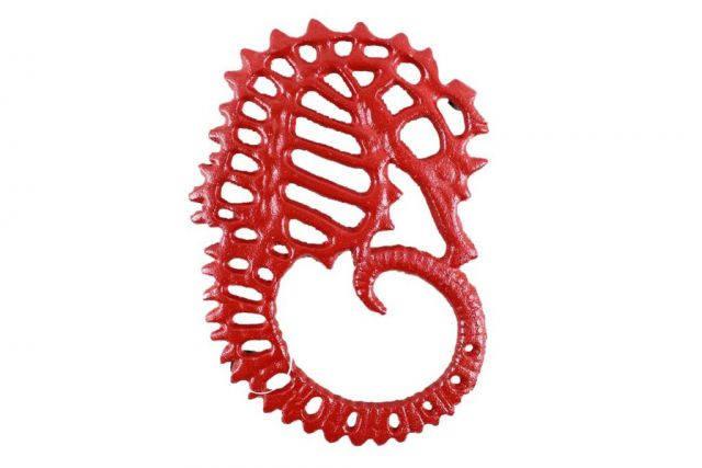 Rustic Red Cast Iron Seahorse Trivet 6