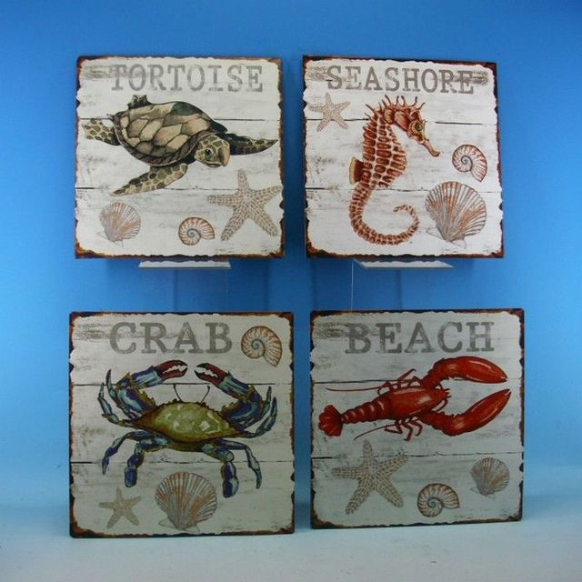 Set of 4 - Metal Sealife Beach Sign 10
