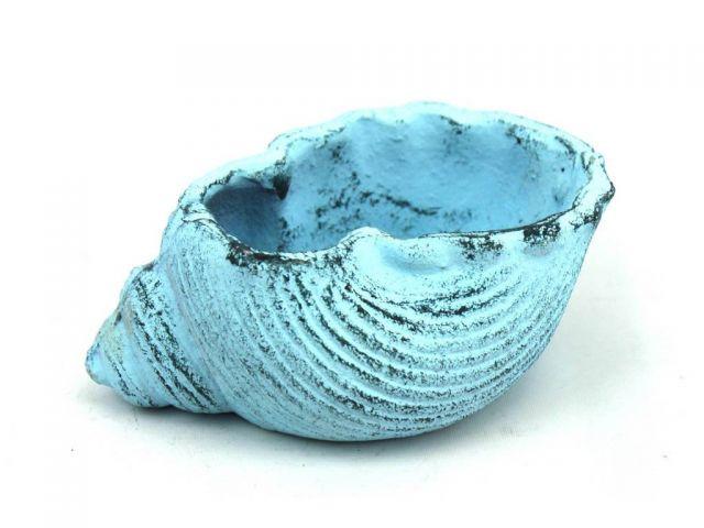 Dark Blue Whitewashed Cast Iron Triton Seashell Decorative Tealight Holder 5