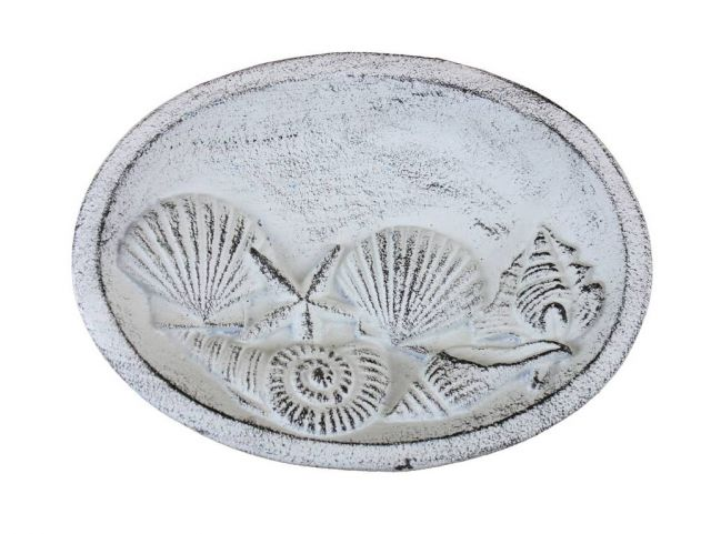 Rustic Whitewashed Cast Iron Decorative Seashell Bowl 8