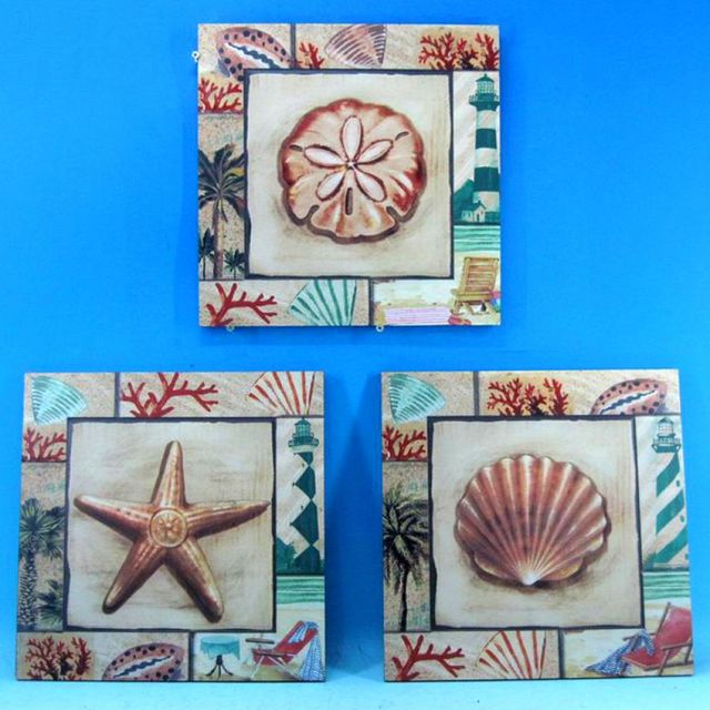 Ceramic Seashell Wall Plaque 12 - Set of 3