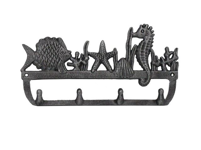 Rustic Silver Cast Iron Wall Mounted Seahorse and Fish Hooks 12