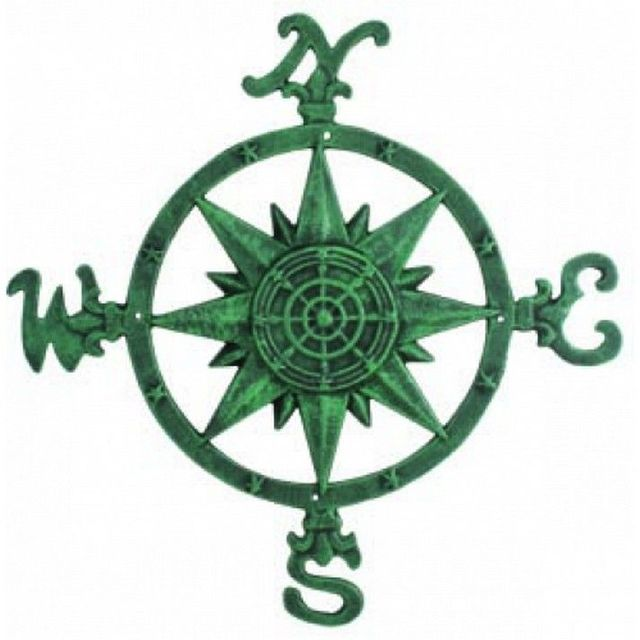 Cast Iron Seaworn Rose Compass 20