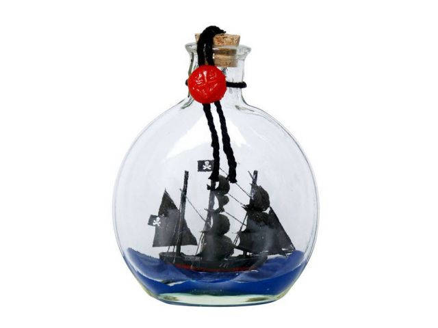 Caribbean Pirate Model Ship in a Glass Bottle Christmas Ornament 4