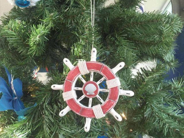 Rustic Red and White Decorative Ship Wheel With Seashell Christmas Tree Ornament  6