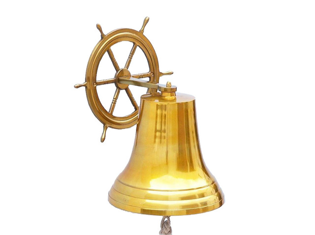 Brass Plated Hanging Ship Wheel Bell 18
