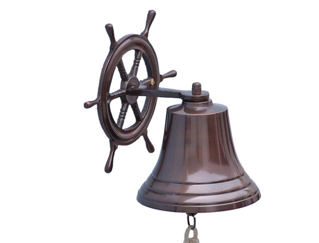 Antique Copper Hanging Ship Wheel Bell 10
