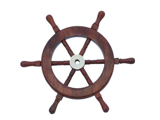 Deluxe Class Wood and Brass Decorative Ship Wheel 9