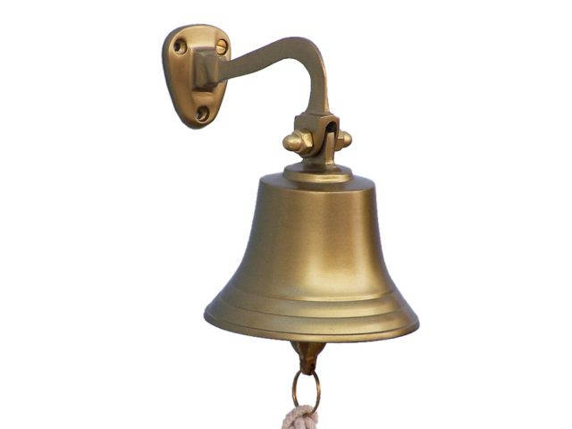 Antique Brass Hanging Ships Bell 6