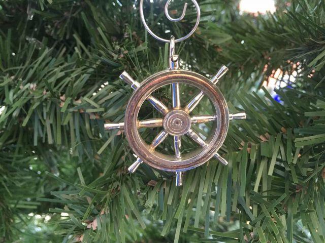 Chrome Ship Wheel Christmas Ornament 5