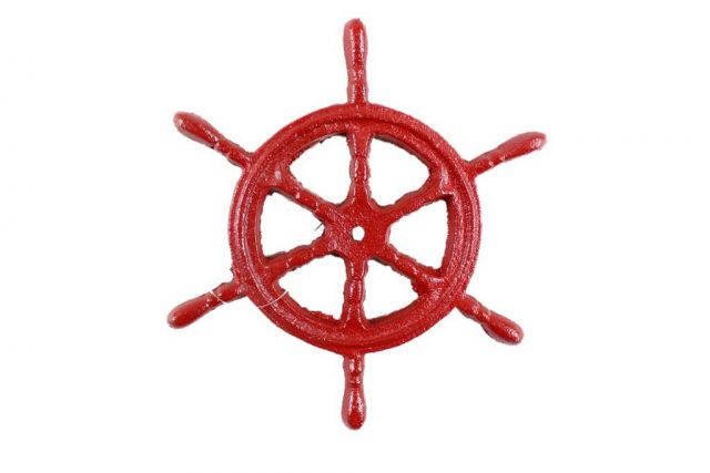 Rustic Red Cast Iron Ship Wheel Trivet 6