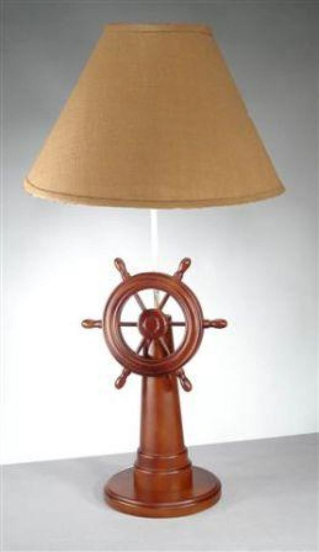 Ships Wheel Lamp with Tan Shade 32