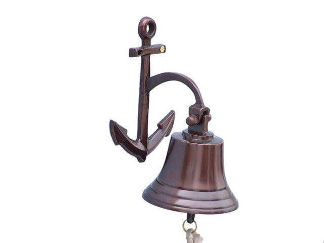 Antique Copper Hanging Anchor Bell 8