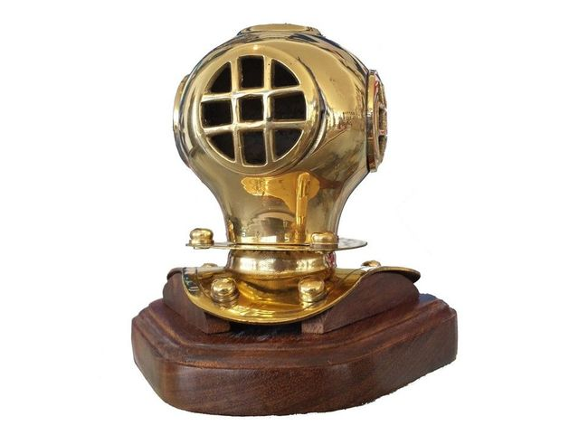 Solid Brass Divers Helmet on Wood Base 4