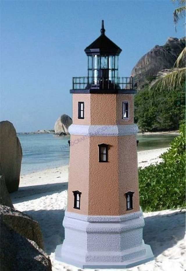 Split Rock Stucco Electric Lawn Lighthouse 48