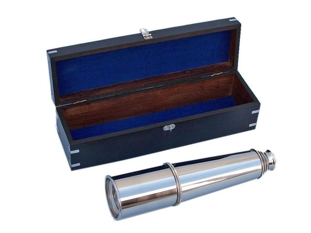 Deluxe Class Hampton Collection Chrome Spyglass with Black Rosewood Box 36