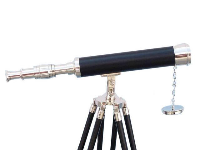 Floor Standing Chrome - Leather Harbor Master Telescope 50
