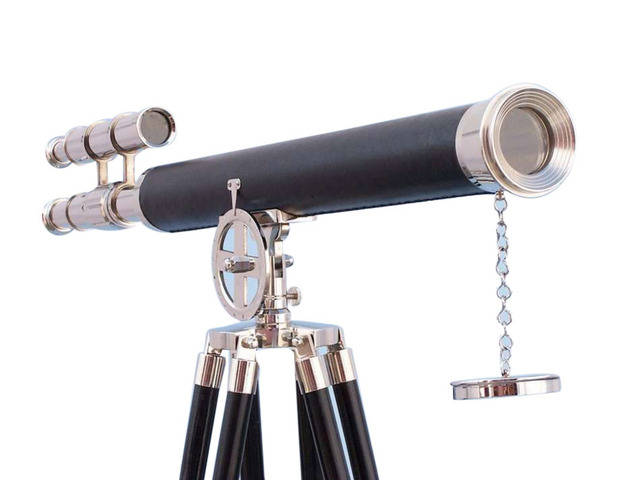 Chrome - Leather Griffith Astro Telescope 64 with Black Wooden Legs