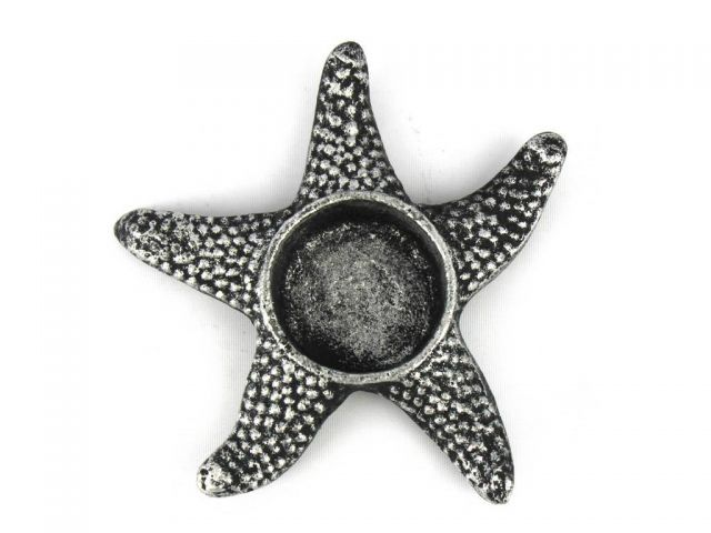 Antique Silver Cast Iron Starfish Decorative Tealight Holder 4.5