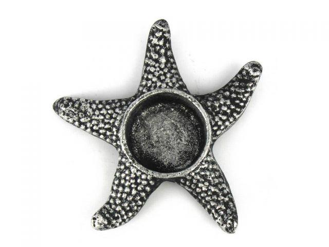 Antique Silver Cast Iron Starfish Decorative Tealight Holder 4.5