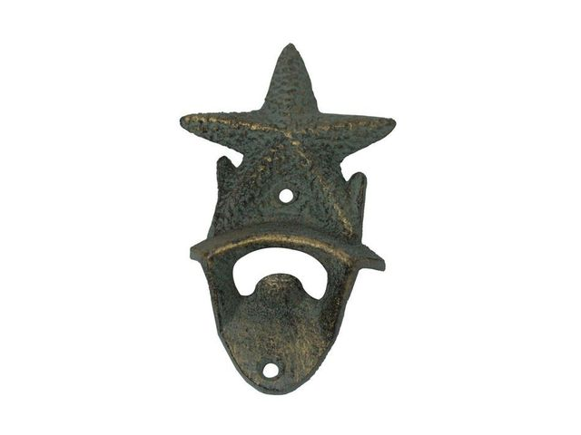 Antique Seaworn Bronze Cast Iron Wall Mounted Starfish Bottle Opener 6