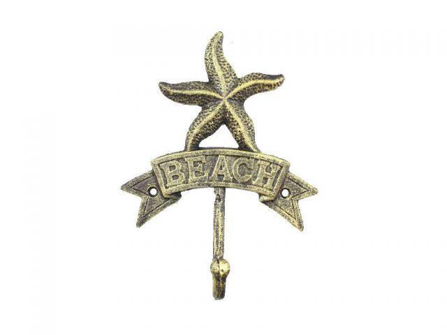 Rustic Gold Cast Iron Starfish Beach Hook 8