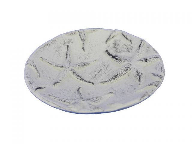 Whitewashed Cast Iron Starfish Decorative Plate 6.5