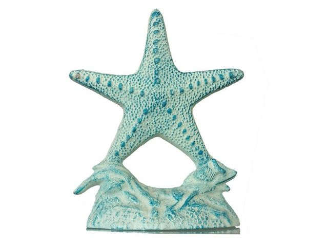 Rustic Cast Iron White and Blue Starfish Doorstop 10