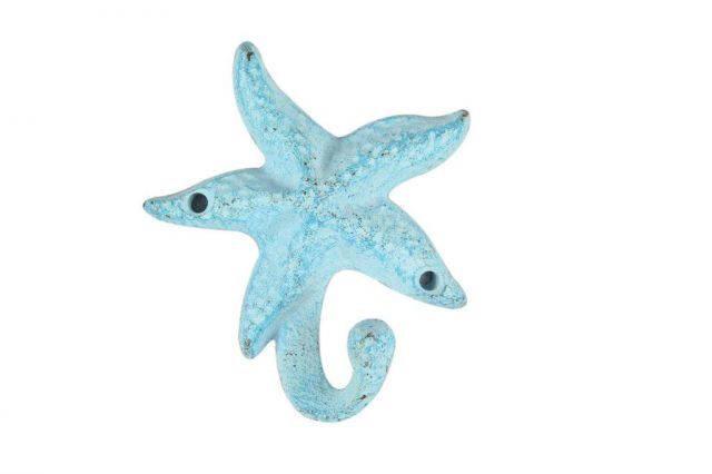 Light Blue Whitewashed Cast Iron Starfish Hook 6