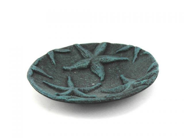 Seaworn Blue Cast Iron Starfish Decorative Plate 6.5