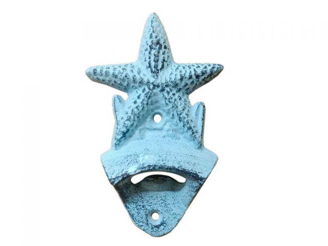 Rustic Dark Blue Whitewashed Cast Iron Wall Mounted Starfish Bottle Opener 6